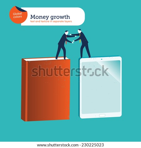 Two businessmen helping each other to jump. Vector illustration Eps10 file. Global colors. Text and Texture in separate layers. - stock vector
