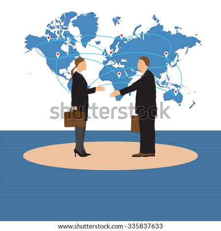 Two businessmen. Man and woman. Handshake. Greeting. Congratulation. Conclusion of the contract.  - stock vector