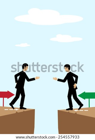 Two businessmen on either side of a divide reach agreement with a handshake. - stock vector
