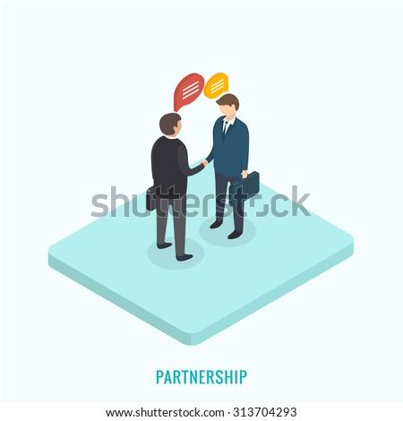 Two businessmen shaking hands. Isometric 3d vector illustration. - stock vector