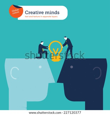 Two  businessmen sharing a bulb on two heads. Vector illustration Eps10 file. Global colors. Text and Texture in separate layers. - stock vector
