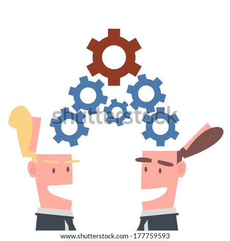 Two Businessmen Sharing Process - stock vector