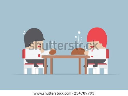 Two businessmen sitting at dinning table with big and small piece of chicken, Market share concept, VECTOR, EPS10 - stock vector