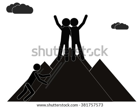 Two businessmen standing on top of a mountain. The concept of teamwork success. Vector. - stock vector