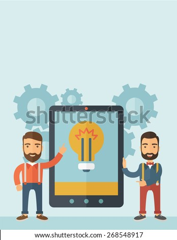 Two businessmen with beard standing while holding a big screen tablet with bulb icon a computer tablet perspective view strategy marketing. Business concept. A contemporary style with pastel palette - stock vector