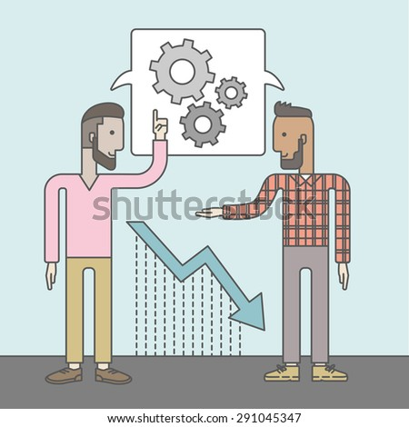 Two businessmen with beards working and planning things together. Business idea concept. Vector flat design Illustration. - stock vector