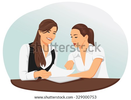Two businesswomen are looking at the document. Team paperwork. - stock vector