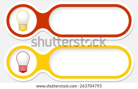 two buttons for your text and bulb - stock vector