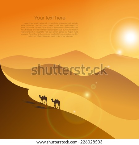 Two camels in the evening desert. Vector background - stock vector