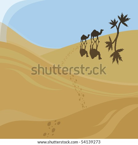 Two camels walking to oasis - stock vector