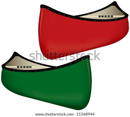 Two Canoes, one red and one green - stock vector