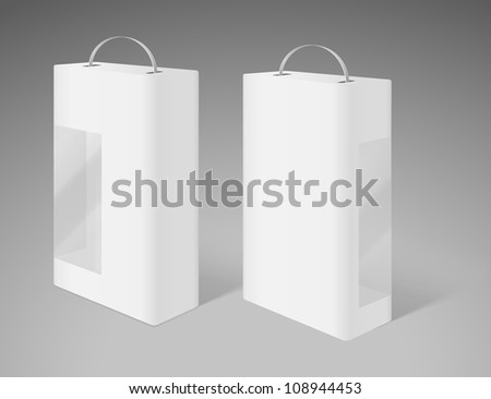 Two cardboard box with transparent plastic window. Front and back side of the box. - stock vector