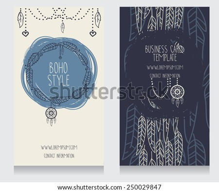 two cards for boho style, can be used us party invitation or us boho shop business cards, feathers and dream catcher frame, vector illustration - stock vector