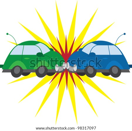 Two cars crashing with explosion - stock vector