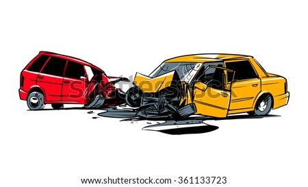 two cars involved in a car wreck. comic style illustration isolated on a white background - stock vector