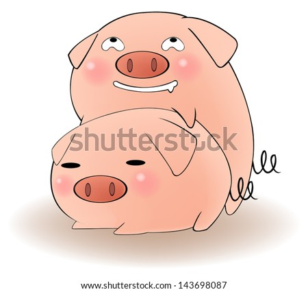 Two cartoon animal couple pigs having sex and breeding with funny cunning lustful expression, create by vector  - stock vector