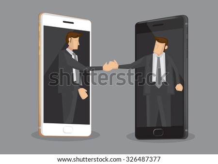 Two cartoon businessmen reaching out from mobile phones for a handshake. Creative vector illustration on concept of the role of technology in business isolated on grey background. - stock vector