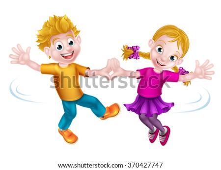 Two cartoon children, boy and girl, dancing - stock vector