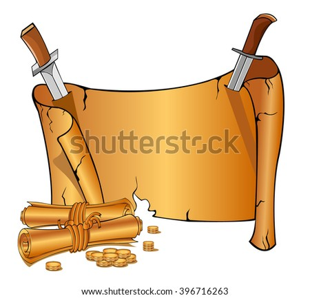 Two cartoon manuscripts near vintage open scroll banner attached by two knives. Game style - stock vector