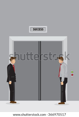 Two cartoon men standing idly in lift lobby and waiting for doors of elevator labeled Success to open. Creative vector illustration on waiting for success concept.  - stock vector