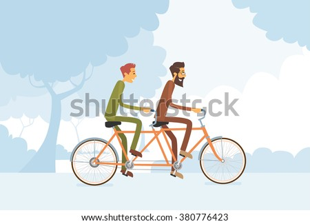 Two Casual Man Riding Tandem Bicycle Flat Vector Illustration - stock vector