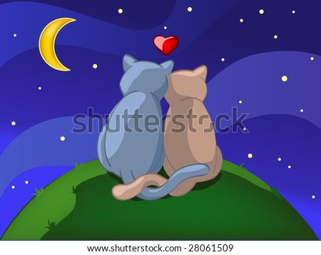two cats in night (editable layers) - stock vector