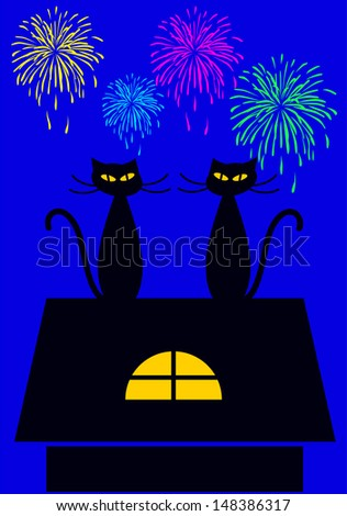 two cats in silhouettes sitting on the top of the roof watching fireworks, cartoon vector illustration - stock vector