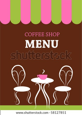 two chairs and table in a restaurant - stock vector