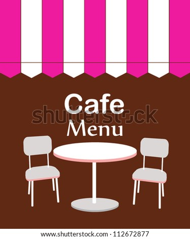 two chairs and table in restaurant. vector illustration - stock vector