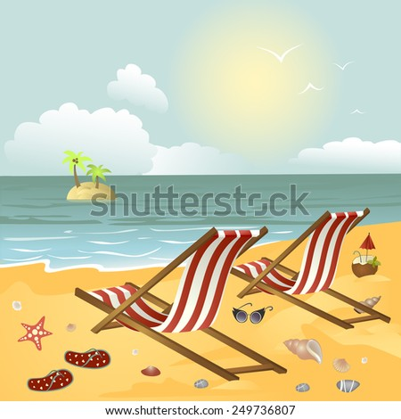 Two chaise longue on the beach.Vector illustration - stock vector