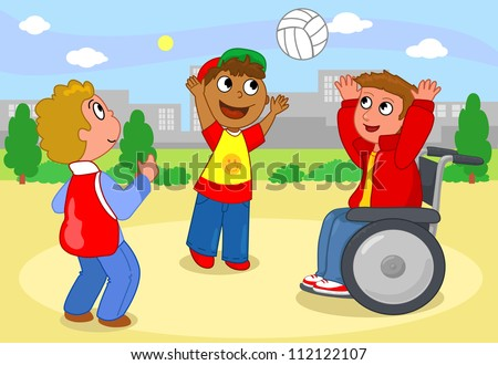 Two children playing volleyball with a boy on wheelchair. - stock vector