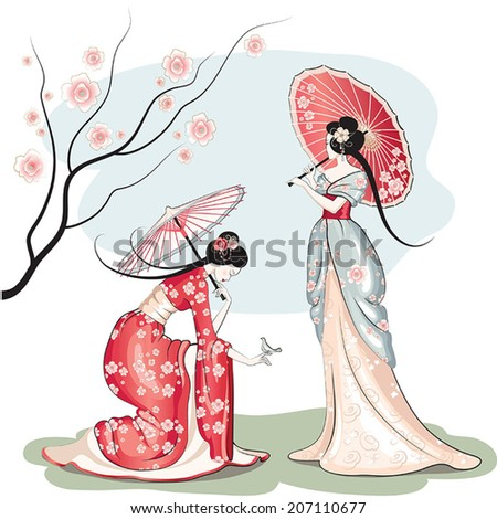 Two chinese women with parasols - stock vector