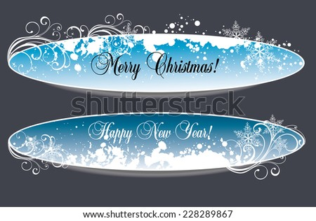 Two Christmas banners with space for text - stock vector