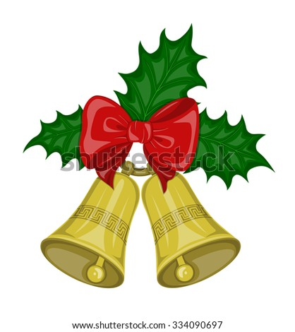 Two Christmas bells golden color on the ring  with decorative ornament  and  red bow and and green leaves holly on the white background. Symbol Christmas holiday. - stock vector