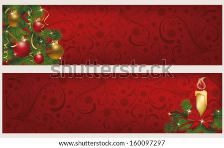 Two christmas winter banners, vector illustration - stock vector