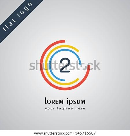 two circle alphabet logo - stock vector