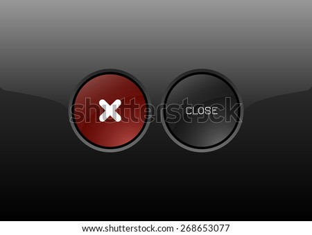 Two circles as modern glossy buttons CLOSE. Vector icons. - stock vector