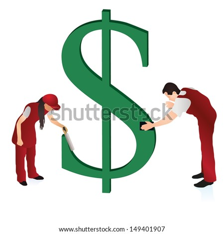 Two cleaners wiping the US Dollar sign - stock vector