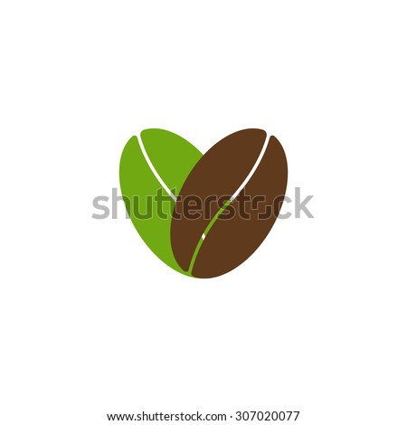 Two coffee beans, one green colored and another brown colored situated in the shape of heart and isolated on white background. Logo template, design element, menu decoration. Flat style illustration - stock vector