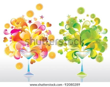 Two Color cocktail with great splash, orange and lime, vector - stock vector