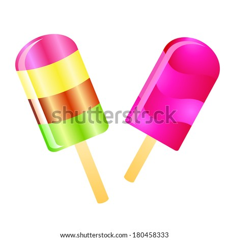 Two color Ice cream lollies isolated on the white phone - stock vector