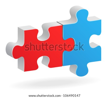 Two color-linked puzzle with shadow - stock vector