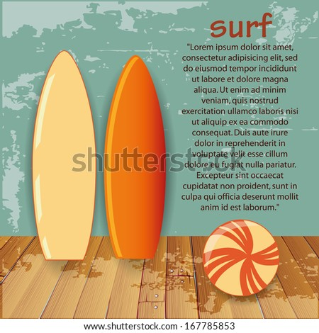 two colored surf tables with some text and a beach ball - stock vector