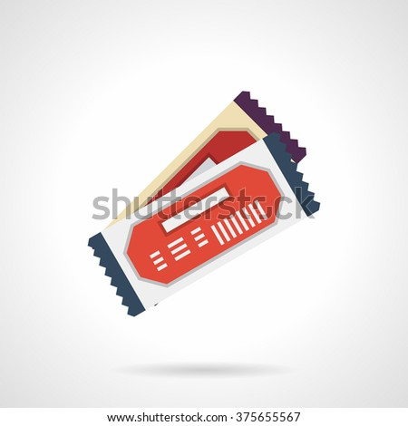 Two colored tickets for pass to party, cinema or theatre. Gift coupons. Flat color style single vector icon. Web design element for site, mobile and business. - stock vector