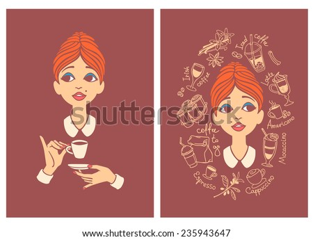 Two colored vintage postcards - young woman drinking coffee and young woman surrounded by coffee doodles - for cafe menu, fliers or signboard - stock vector