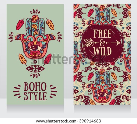 two colorful cards with hamsa symbol in boho style, vector illustration - stock vector