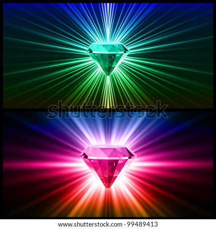 Two Colorful diamonds on bright backgrounds. Vector - stock vector
