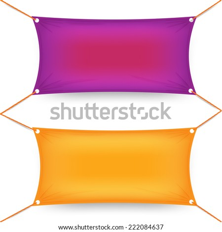 Two colorful purple and orange rectangular textile banners - stock vector