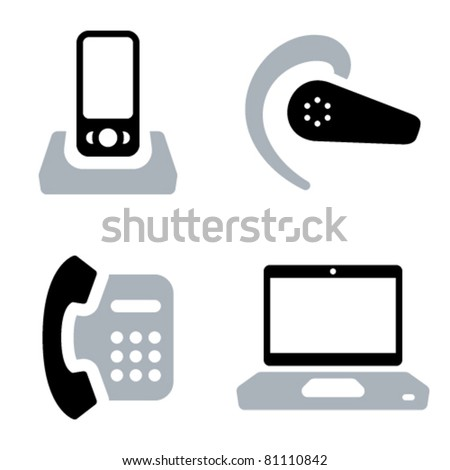 Two-coloured vector icons of communication tools: mobile phone with doc station, headset, office phone and laptop - stock vector