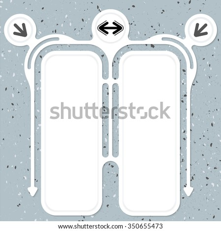 Two connected frames for your text and arrows - stock vector